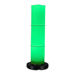 "PLC - PatioGlo LED 6 Color Changing Floor Lamp - Award Winning Design! 6 color changing LEDs provide an array of various colors using the multi-function remote control. Body of the PatioGlo lamp is molded of special UV protected high density frost polyethylene mounted to a weighted resin base. The base includes an energy saving low voltage LED light source designed to provide years of carefree illumination. Completely weatherproof with nothing to rust or corrode. Great for seaside environments. Dimensions: 41"" tall x 9.5"" body diameter."