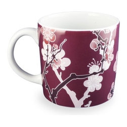 "InkDish - Cherry Ink Mug (Set of 4) - Features: -Made from porcelain. -Eco-friendly. -Traditional cherry-blossom pattern. -Uses the sumi style of Japanese Tattooing. -Microwave and dishwasher safe. -Capacity: 10 oz.. -Dimensions: 5"" H x 5"" W x 3.5"" D."
