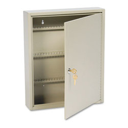 "MMF POS - Uni-Tag Key Cabinet, 110-Key,Steel, Sand, 14 X 3 1/8 X 17 1/8 - Help avoid wasted time and frustration by organizing your key sets. In these heavy-gauge, welded steel cabinets with piano-hinged doors, all keys are attached to numbered tags and filed securely on key rack slots. For convenience, whenever key is on loan, the ""Out Key"" control tag records key number, key recipient and date and is then filed under same slot for accountabilitya great, simple system. Additionally, the alphabetical and numerical lock location data charts assist in organization. For security, each cabinet has a locking door with a standard disc tumbler key lock with two keys. Key Capacity: 110; Material(s): Welded Steel; Color(s): Sand."