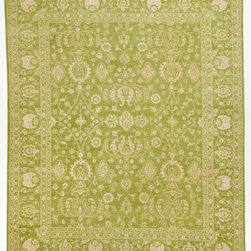 Rug Knots - Green and Ivory Silk Rug with Borders 8x9.1 - Add a splash of color to any space by displaying this lovely green rug. A bright, natural-looking green tone serves as the perfect backdrop for a detailed design.