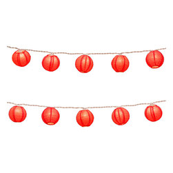 "LumaBase Luminarias - Electric String Lights with Round Paper Lanterns (3"") 10 Count Red - Electric round paper lanterns are an economical way to add color and dimension to your event. They will create a beautiful ambiance day or night. Use them on tree branches, under a party tent, above a dinner table or under a patio umbrella. They'll add a touch of flair and a festive feel any way you use them."