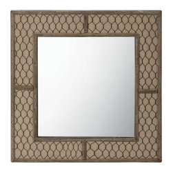 Lazy Susan - Lazy Susan 594036 Canvas Wire Mirror - Reflect your love of farmhouse chic with this unique mirror. It's 14 inches high and wide and handmade of natural fir, cotton canvas and aged iron woven to resemble chicken wire. Inside the frame, the mirror adds a bit of glam.