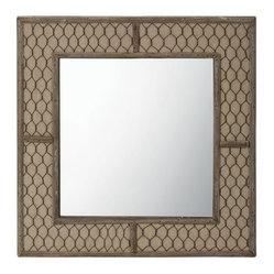 Lazy Susan - Canvas Wire Mirror - Reflect your love of farmhouse chic with this unique mirror. It's 14 inches high and wide and handmade of natural fir, cotton canvas and aged iron woven to resemble chicken wire. Inside the frame, the mirror adds a bit of glam.