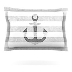 """Kess InHouse - Monika Strigel """"Stone Vintage Anchor Gray"""" White Grey Pillow Sham (Cotton, 30"""" x - Pairing your already chic duvet cover with playful pillow shams is the perfect way to tie your bedroom together. There are endless possibilities to feed your artistic palette with these imaginative pillow shams. It will looks so elegant you won't want ruin the masterpiece you have created when you go to bed. Not only are these pillow shams nice to look at they are also made from a high quality cotton blend. They are so soft that they will elevate your sleep up to level that is beyond Cloud 9. We always print our goods with the highest quality printing process in order to maintain the integrity of the art that you are adeptly displaying. This means that you won't have to worry about your art fading or your sham loosing it's freshness."""