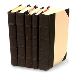 Canvas Collection Books - Black  - Set of 5 - You can, indeed, judge a book by its cover. A visually striking set of decorative tomes, the Canvas Collection Books - Black - Set of 5  make an impressive graphic statement when placed upon a shelf in an eclectic great room, a window ledge in a home office, a fireplace mantel embellished with objets d'art, or glass-fronted armoire in a personal library.