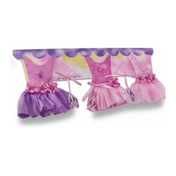 Zeckos - Pink and Purple Ballerina Dresses Wooden Wall Hook - This adorable wooden wall hook features three pink and purple frilly fabric ballerina dresses decorated with sparkling faceted jewels and fabric flowers with dangling ballet slippers perfect for any little dancer's bedroom, play room, or playhouse in the back yard It's 20 inches (51 cm) wide, 8 inches (20 cm) high and 2 inches (5 cm) deep, and easily mounts using the attached sawtooth hangers on the back It boasts three hooks great for hanging dance gear, jackets, towels or just as a cute accent on the wall It makes a wonderful gift any little ballerina lover is sure to adore