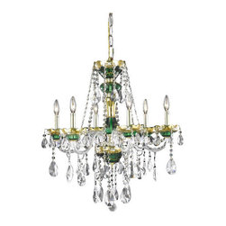 Elegant Lighting - Elegant Lighting 7810D24GN Alexandria 6-Light, Single-Tier Crystal Chandelier, F - Elegant Lighting 7810D24GN Alexandria 6-Light, Single-Tier Crystal Chandelier, Finished in Green with Clear CrystalsElegant Lighting 7810D24GN Features: