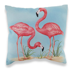 Manual - Pink Flamingos Indoor/Outdoor Pillow 18 X 18 In. - Add a tropical accent to your porch, patio, or inside your home with this pink flamingo pillow. The Climaweave fabric is durable, fade and moisture resistant, and is sure to look and feel great for years, wherever you display it. It is made of 100% polyester, from the cover to the soft stuffing, and it measures 18 inches by 18 inches. Recommended care instructions are to spot clean, only. This pillow makes a great gift that is sure to be loved, year after year. Made in the U.S.A.
