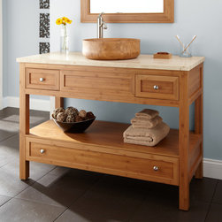 """48"""" Miles Bamboo Vessel Sink Console Vanity - Displaying simple lines and natural variations in bamboo, the 48"""" Miles Console Vessel Sink Vanity has three drawers and an open shelf for storage."""
