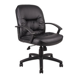"Boss - Mid Back Leatherplus Chair - Beautifully upholstered in black LeatherPlus. LeatherPlus is leather that is polyurethane infused for added softness and durability. Executive Mid Back styling with extra lumbar support. Extra thick seat and back cushion. Pneumatic gas lift provides instant seat height adjustment. Adjustable tilt tension control. Upright locking control. Durable polypropylene armrests. Large 27"" nylon base for greater stability. Hooded double wheel casters. Matching guest chair with cantilever base (B7309). Optional knee-tilt mechanism upgrade available. High back model (B7302) Mid back model (B7307)"