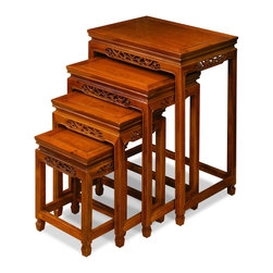 """China Furniture and Arts - Rosewood Flower & Bird Motif Nesting Tables - Exhibiting its pleasing simple lines in a distinct Ming (1368-1644) style, this exquisite set of four nested tables can be used individually or to the delight of your own artistic arrangement. Each table is further decorated with flower and birds carvings, which are the symbol of peace and happiness in Chinese culture. Completely handmade in solid rosewood using the traditional joinery technique. Hand applied natural rosewood finish enhanced the beauty of the wood grains. (20""""x14""""x26"""", 17""""x12""""x22"""", 14""""x10""""x18"""", 11""""x8""""x14"""")"""