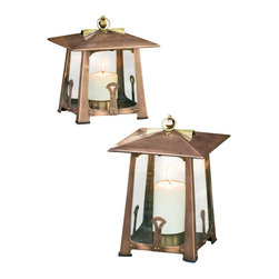 H Potter - H Potter Craftsman Lantern, Large - This outdoor lantern houses a candle in the center of its hut-like structure. The base also features charming decorative elements, plus a handy hook that allows you to hang the lantern if preferred.