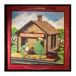 """Glittered Grateful Dead Terrapin Station - Glittered record album. Album is framed in a black 12x12"""" square frame with front and back cover and clips holding the record in place on the back. Album covers are original vintage covers."""