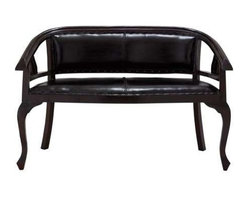"""Benzara - Malaga Two Seater Sofa with Black Leather Cushion Cover - Malaga two seater sofa with black leather cushion cover. The Malaga sofa has a traditional design and is designed for comfort. It comes with a dimension of 22 """" W x 13 """" D x 76"""" H. Some assembly may be required."""