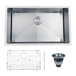 """Ruvati - Ruvati RVH7300 Undermount 16 Gauge 30"""" Kitchen Sink Single Bowl - Gravena offers a modern, linear style with square / rectangular bowls. The tight radius corners of the bowls make it easy to clean around the linear edges of Gravena sinks. The rear drain placement ensures dishes don�t settle on the drain and prevent water flow while the drain grooves in the basin channel water towards the drain, keeping your sink clean and dry."""