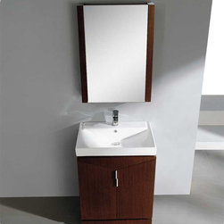 """Fresca - Fresca Elissos 24"""" Modern Single Sink Vanity Set w/ Medicine Cabinet - The Fresca Elissos is a compact 24"""" free standing vanity. 2 large doors reveal 2 spacious areas, while the matching medicine cabinet offers additional storage. Many faucet styles to choose from."""
