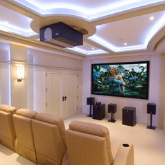 contemporary media room by CF + D Theatre Design