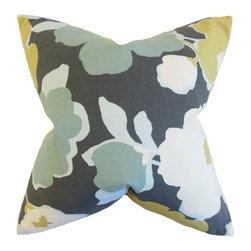 """The Pillow Collection - Saar Floral Pillow, Charcoal 18"""" x 18"""" - Offer sophistication and down-to-earth elegance with this accent pillow."""