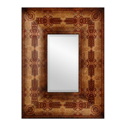 Oriental Furniture - Olde-Worlde Baroque Style Mirror - This Milan design wall mirror has a thick, substantial wood frame, with a fine quality beveled edge that's particularly pleasing to the eye. Finished in a textured faux leather, beautifully printed with a distinctive Italian design decorative pattern. This is an elegant accent, reflecting a taste for quality and beauty in unique home furnishings. Sometimes the choice of mirrors isn't given a lot of thought when one decorates a room. It makes sense to spend more on seating, tables, and cabinets. But this outstandingly beautiful, wide frame mirror is particularly affordable, and once hung, it is a home decor investment we think you'll be glad you made.