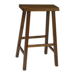 International Concepts - Wooden Bar Stool w Saddle Seat in Oak - Saddle up all you cowboys this saddle seat barstool is just your style. From its saddle shaped seat to its rustic oak finish this stool has a unique look. Made from solid wood it arrives to you fully assembled. * Saddle seat. Square legs. No assembly required. 17.5 in. W x 9 in. D x 29 in. H (14 lbs.). Seat height: 29 in.