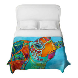 DiaNoche Designs - Seaglass Sea Turtle Duvet Cover - Lightweight and super soft brushed twill duvet cover sizes twin, queen, king. Cotton poly blend. Ties in each corner to secure insert. Blanket insert or comforter slides comfortably into duvet cover with zipper closure to hold blanket inside. Blanket not included. Dye Sublimation printing adheres the ink to the material for long life and durability. Printed top, khaki colored bottom. Machine washable. Product may vary slightly from image.