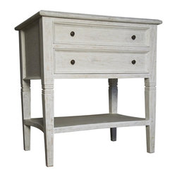 Noir - Noir - Oxford 2 Drawer Side Table, White Wash - White Washed Mahogany Wood