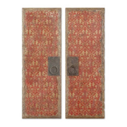 Uttermost - Uttermost Red Door Panels Decorative Wall Art in Hand Paint - Shown in picture: These vibrant oil reproductions feature distressed wood tone edges and aged metal door handles.