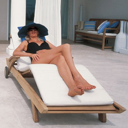 Teak Outdoor Chaise Lounge - Teak outdoor chaise with adjustable back and leg support.