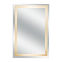 """Aptations,a Kimball&young Affiliate - Kimball & Young Classic Back-Lit Wall Mirror - Kimball & Young Back-Lit Wall Mirror features non-magnified, high quality distortion-free mirror glass. Hardwire lighted mirror measures 24"""" W x 3 5/8"""" D x 36"""" H."""