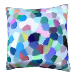 Custom Photo Factory - Abstract Character Colors Pillow.  Polyester Velour Throw Pillow - Abstract Character Colors Pillow. 18 Inches x 18  Inches.  Made in Los Angeles, CA, Set includes: One (1) pillow. Pattern: Full color dye sublimation art print. Cover closure: Concealed zipper. Cover materials: 100-percent polyester velour. Fill materials: Non-allergenic 100-percent polyester. Pillow shape: Square. Dimensions: 18.45 inches wide x 18.45 inches long. Care instructions: Machine washable