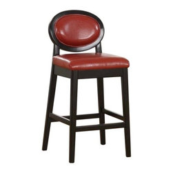 "Armen Living Martini 30 in. Low Back Bar Stool - Create an edgy, modern feel at your home bar or commercial establishment with the geometric lines of the Armen Living 30-Inch Martini Low Back Bar Stool. The sleek, square lines of the base are softened by the oval-shaped backrest for an interesting look. The stationary padded seat is upholstered in genuine leather in your choice of vibrant colors, each balanced by the black solid wood legs and frame. These stools lend a sophisticated yet fun atmosphere to the room that your guests will remember long after the party's over.The Martini also comes in a coordinating Counter Height stool, please view ""Related Items"". Please note: This item is not intended for commercial use. Warranty applies to residential use only.About Armen LivingImagine furniture without limits - youthful, robust, refined, exuding self-expression at every angle. These are the tenets Armen Living's designers abide by when creating their modern furniture collections. Building on more than 30 years of industry experience, Armen Living combines functional versatility and expert craftsmanship into their dramatic furniture styles, all offered at price points fit for discriminating budgets. Product categories include bar stools, club chairs, dining tables, ottomans, sofas, and more. Armen Living is based in Sun Valley, Calif."
