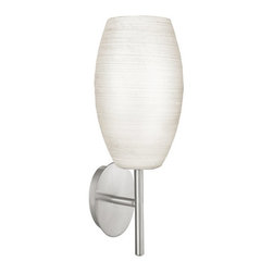 Eglo - Eglo 88956A 1 Light Wall Sconce from the Batista 1 Collection - Eglo 88956A Batista 1 1 Light Wall SconceElegance is the word for this beautiful wall sconce from the Batista 1 Collection. Featuring Oval Shaped White Glass and hardware of a Matte Nickel Finish that makes this fixture a handsome addition to any room. Features Hand Made Glass.Eglo 88956A Features: