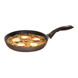 """Swiss Diamond - Nonstick Fry Pan - 10.25"""" - Swiss quality is evidenced in every facet of the Swiss Diamond 10.25 inch (26 cm) Fry Pan. Unsurpassed nonstick performance allows cooking with little to no oil for a healthier lifestyle. No more scrubbing or soaking  the diamond-reinforced patented coating ensures immediate release of food particles with just warm soapy water. A helping handle located on the lip of the pan makes two-handed tasks a cinch. The rivet-free interior prevents unsightly food build-up that could lead to bacteria growth. Dishwasher safe but hand-washing recommended. Suitable for all gas and electric stovetops  for an induction version, please see our Induction Collection. Heat-tempered glass lid sold seperatly."""