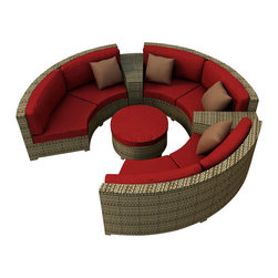 Forever Patio - Hampton 6 Piece Modern Wicker Sectional Set, Heather Wicker and Ruby Cushions - The Forever Patio Hampton Radius 6 Piece Modern Patio Sectional Set with Red Sunbrella cushions (SKU FP-HAMR-6SEC-HT-FF) comfortably seats 6 to 7 adults, and conveniently includes an ottoman and contouring end tables that accent the 3 curved loveseats. This set features Heather resin wicker, which is made from High-Density Polyethylene (HDPE) for outdoor use. Each strand of this outdoor wicker is infused with its natural color and UV-inhibitors that prevent cracking, chipping and fading ordinarily caused by sunlight, surpassing the quality of natural rattan. Each piece features thick-gauged, powder-coated aluminum frames that make the set extremely durable. Also included with this curved sofa set are fade- and mildew-resistant Sunbrella cushions. With its deep-seated design and plush cushions, this modern round sofa sectional set features top-of-the-line comfort and size, especially when compared to the competition.