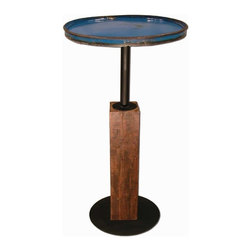 Groovystuff - Groovystuff Cobalt Moonshine Pub Table - The Moonshine Pub Table mixes the best of both worlds - reclaimed steel drum top mounted on a reclaimed teak base. It's urban and edgy and adds a pop of electric color to your home.