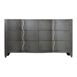 Hooker Furniture - Melange Lana Dresser - Infused with sexy swagger and modern attitude, the shapely Lana blends feminine curves and masculine menswear appeal.  Six drawers.  Felt-lined top drawers.