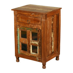 """Sierra Living Concepts - New Memories Reclaimed Wood Rustic End Table Cabinet - Celebrate rustic design and the beauty of old wood with our handcrafted New Memories Mini Cabinet. This solid hardwood nightstand fits into small spaces and cozy corners. Use it as a bedside table, end table or free standing bathroom cabinet. It's easy to stay organized with a two-shelf cupboard and a top drawer. The rustic 20"""" by 15.5"""" cabinet stands off the floor on turned peg legs."""