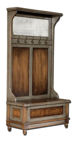 Matthew Williams - Matthew Williams Riyo Hall Tree X-16552 - Honey stained, solid mango wood with hand painted, distressed charcoal gray accents, aged brass coat hooks, and antiqued mirror. Seat lifts with safety hinge for storage.