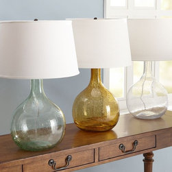 Eva Colored Glass Table Lamp - These are the perfect glass table lamps for a beach house. I love the turquoise.