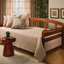 Hillsdale Furniture - Hillsdale Jason Daybed - Popular wood sleigh daybed featuring flared panel sides with horizontal slats and over-lap back. The finish is a deep dark pine finish of exceptional clarity. All wood construction made of pine with dark pine finish.