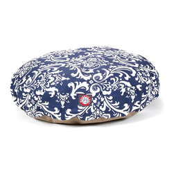 MAJESTIC PET PRODUCTS - Navy Blue French Quarter Round Pet Bed - pet bed looks great in any room of your house and is filled with ultra-plush fiberfill for luxurious napping. The removable zippered slipcover is made from outdoor-treated, UV-protected polyester for durability, and the base is made from heavy-duty waterproof 300/600 denier fabric that can go inside or out. Spot clean the slipcover and hang dry. Comes in a variety of colors and patterns, so you can pick the one that complements your decor.