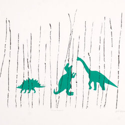 'Three Friends' Limited-Edition Lithograph Print - This fun lithograph was made at Keystone Editions in Berlin. The artist happen to find a huge collection of 19th century molds in the basement. She used one or two to make marks on aluminum lithography plates. The result was this playful image.