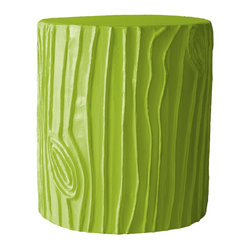 Stump Douglas Fir Stool/Accent Table - Faux bois doesn't always have to look natural. Have fun with it! This Stump Douglas Fir Stool comes in a variety of fun colors.