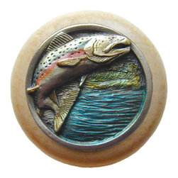 """Inviting Home - Leaping-Trout Natural Wood Knob (clear finish with hand-tinted pewter) - Leaping-Trout Natural Wood Knob in clear finish with hand-cast hand-tinted pewter insert; 1-1/2"""" diameter Product Specification: Made in the USA. Fine-art foundry hand-pours and hand finished hardware knobs and pulls using Old World methods. Lifetime guaranteed against flaws in craftsmanship. Exceptional clarity of details and depth of relief. All knobs and pulls are hand cast from solid fine pewter or solid bronze. The term antique refers to special methods of treating metal so there is contrast between relief and recessed areas. Knobs and Pulls are lacquered to protect the finish."""