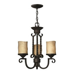 Hinkley Lighting - Hinkley Casa Olde Black Three-Light 16.75 Wide Mini-Chandelier - Casa makes the most of its fine details- individually unique antique scavo glass twisted wrought iron and hand-forged scrollwork in an Olde Black finish complete its rustic-chic appeal with a Southwestern flair.Under four generations of family leadership Hinkley Lighting has transformed from a small outdoor lantern company to a global brand intent on bringing you the best in style quality and value. LIFE AGLOW: That's their mantra and they take it seriously. By welcoming their products into your home they become part of your family's everyday life illuminating small moments and big occasions. They understand your home is so much more than a physical place. It's an emotional space designed by you so they are committed to keeping your 'Life Aglow' with stylish state-of-the-art lighting. Their products are the ultimate combination of style and substance. They are constantly developing new technologies to make their fixtures even more energy efficient. Hinkley recently upgraded their LED to cutting-edge high lumen output integrated solutions and they give you hundreds of energy-efficient styles to choose from. Even their Cleveland-based world headquarters employs high energy saving standards with low VOC materials and a variety of eco-smart applications into the design to make an earth-friendly work environment for their Hinkley family. Hand crafted fixtures luxe finishes artistic details and quality materials go into the design of every product they make. They embrace the philosophy that you can merge together the lighting furniture art and accessories you love into a beautiful environment that defines your own personal style.