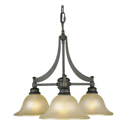 Murray Feiss - Murray Feiss Pub Transitional Chandelier X-BRO3/2291F - Subtle contemporary influencing has been blended with traditional style for a unique flair on this Murray Feiss chandelier. From the Pub Collection, it features three frost amber glass shades with a traditional bell shape and flared lip. A rich toned Oil Rubbed Bronze finish helps to pull the look together.