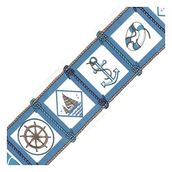 Blue Mountain Wallcoverings - Nautical Blue Prepasted Wall Border Roll - Features: