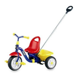 Kettler - Kettler Happy Navigator Tricycle - This tricycle has a rear wheel steering system to help make it easier for Mom or Dad to turn. The Navigator mechanism has a simple on/off switch under the frame to activate it, no cables needed.