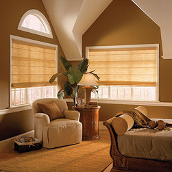 "Comfortex Envision Flat Panel Roman Shades - Envision Roman Shades combine the beauty of drapery fabrics with the benefit of window treatment technology. Flat panel roman shades offer a tailored look. In the lowered position, the fabric hangs smoothly. When raised, the folds gather at the head rail. A matching 3"" valance is included with every shade."