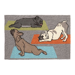 """Trans-Ocean - 24""""x36"""" Frontporch Yoga Dogs Heather Mat - Richly blended colors add vitality and sophistication to playful novelty designs.Lightweight loosely tufted Indoor Outdoor rugs made of synthetic materials in China and UV stabilized to resist fading.These whimsical rugs are sure to liven up any indoor or outdoor space, and their easy care and durability make them ideal for kitchens, bathrooms, and porches. Made in China."""